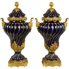 Pair of 19th Century Sevres, Ormolu mounted Vases