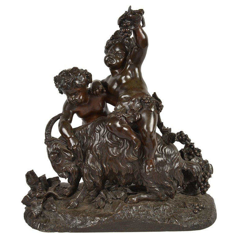 Classical 19th Century Bacchus Bronze Group For Sale