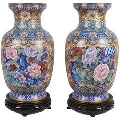 Pair of Chinese Decorative Cloisonné Enamel Vases