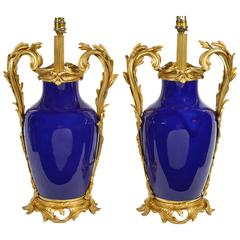 Pair of Classical Blue Porcelain and Ormolu Lamps