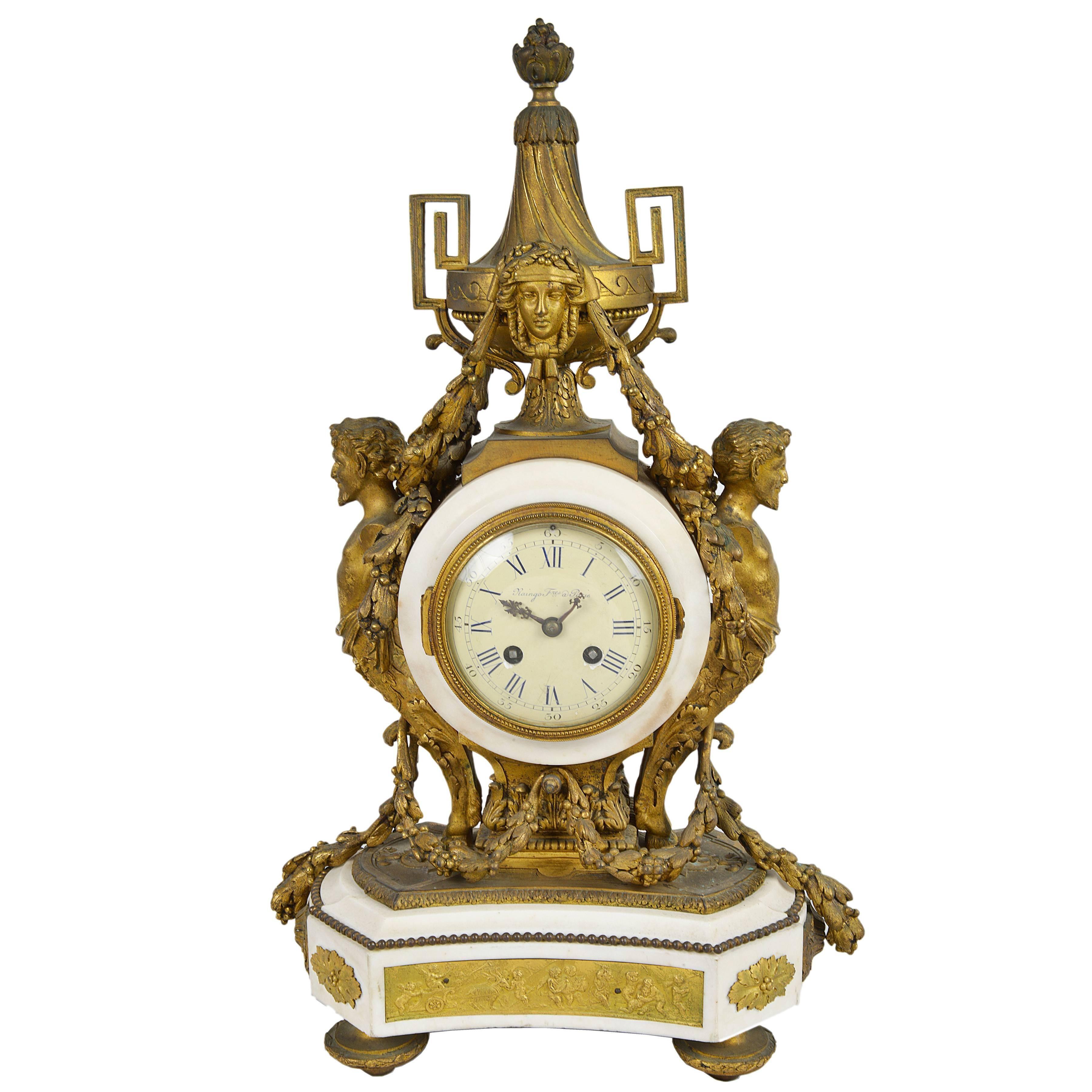 Raingo Fres, Paris. Louis XVI Style Mantel Clock