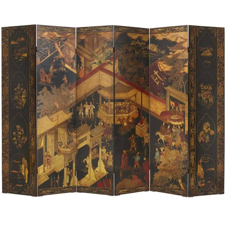 Lacquered and Ebonized Wood Six Panel Chinese Folding Screen at 1stdibs