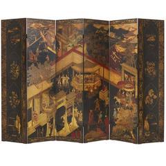 Lacquered and Ebonized Wood Six Panel Chinese Folding Screen