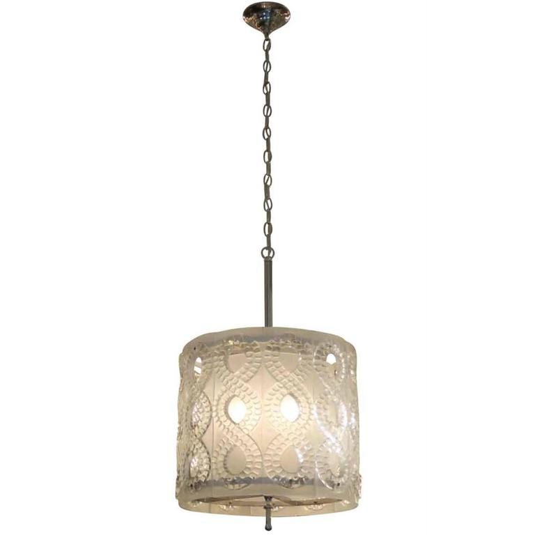 "1990s MCM Molded Crystal Pendant Light Done in a Lalique ""Seville"" Style"