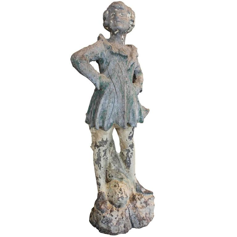 French 19th Century Hand-Carved Sculpture of a Young Girl with Feisty Attitude