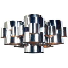 Modernist Chrome Chandelier by Curtis Jere