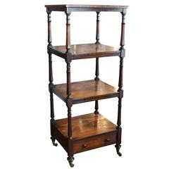 Rosewood Four-Tiered English Étagère with Single Drawer and Casters, Circa 1880