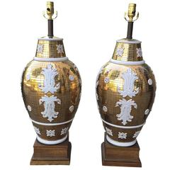 Pair of Mid-Century Italian Ceramic Lamps by Ugo Zaccagnini for Marboro