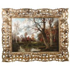 Barbizon Antique Landscape Oil Painting of Forest by Adolf Kaufmann, Austrian