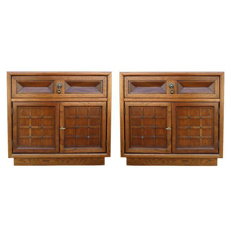 Walnut Nightstands by American of Martinsville, Pair For Sale