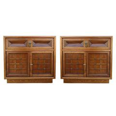 Walnut Nightstands by American of Martinsville, Pair