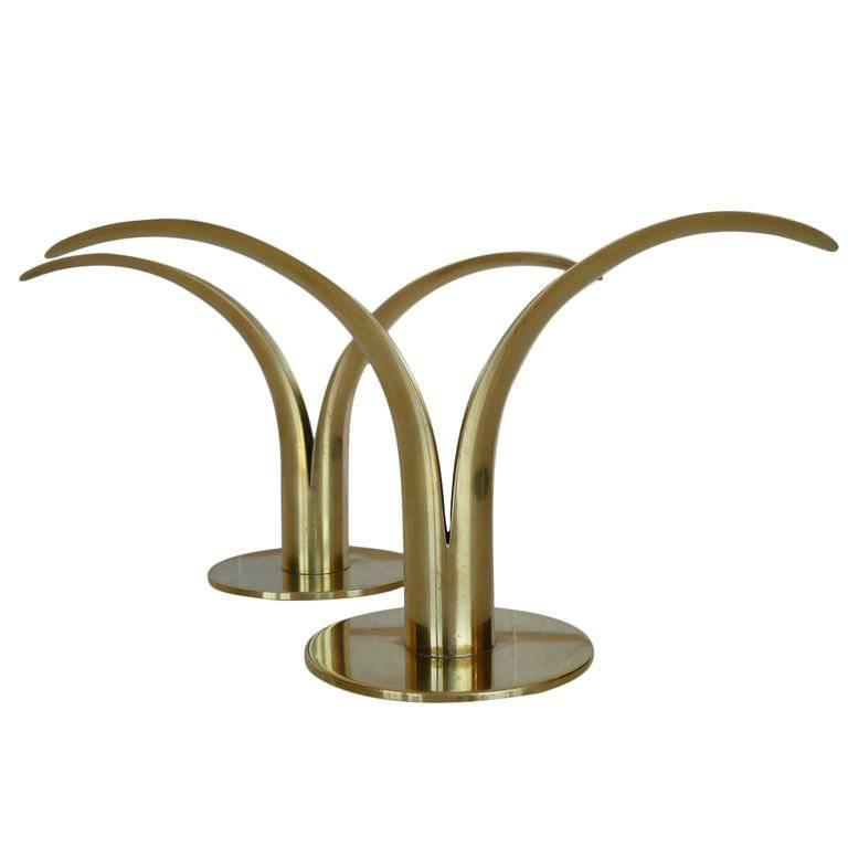 Pair of Swedish Mid-Century Split Leaf Candle Holders for Ystad Metal For Sale