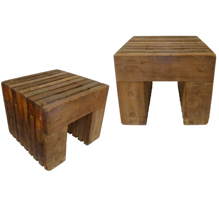 Architectural Cedar Side Tables For Sale