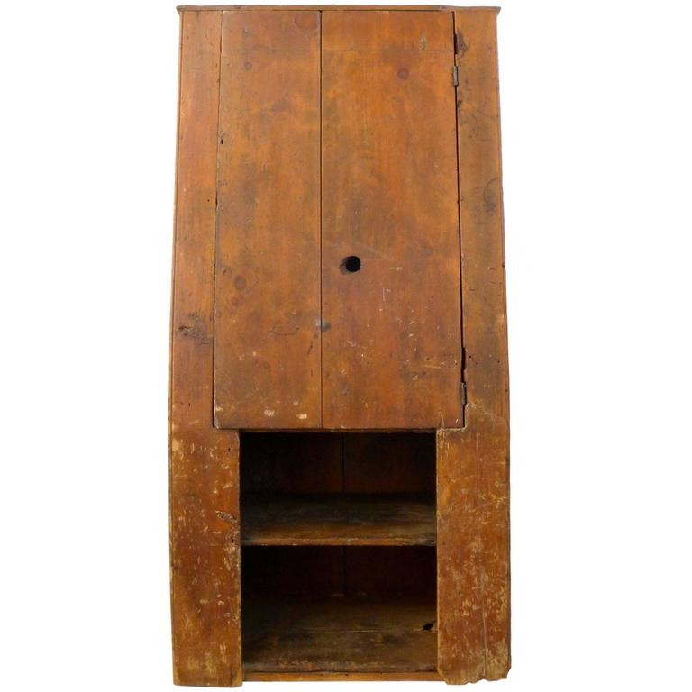18th Century American Primitive Canted-Front Cabinet 1