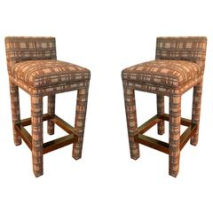 Chic Pair of 80s Parsons Style Bar Stools