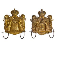 Pair of Gilt Bronze Neo Classic Candle Wall Sconces