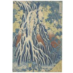 Hokusai 19th Century Japanese Woodblock Print, Ukiyo-e Iconic Blue Waterfall