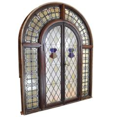 Arched Stained Glass French Window Unit