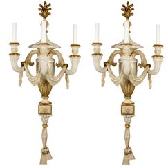 Pair of Cream Painted and Parcel-Gilt Three-Light Wall Appliqués