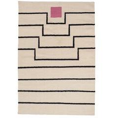 Aelfie Tabitha Striped Modern Dhurrie/Kilim Pink White Rug Carpet 5x8