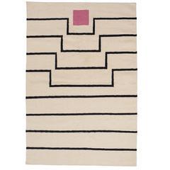 Aelfie Tabitha Striped Modern Dhurrie/Kilim Pink White Rug Carpet