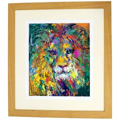 Mid-Century Modern Portrait of Lion Serigraph Signed Numbered by Leroy Neiman