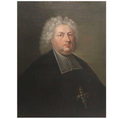 Antique Continental Clerical Portrait, Oil on Canvas