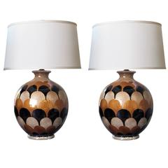 Bold Pair of Italian Handmade Ovoid-Shaped Ceramic Lamps with Imbricating Glaze