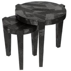Set Black Lacquered Textured Nesting Side Tables