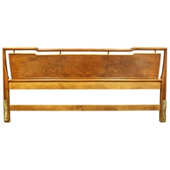 John Widdicomb King Size Walnut and Brass Headboard, 1950s