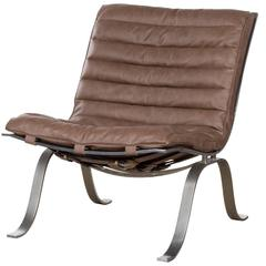 Arne Norell Ariet Leather Lounge Chair, Sweden