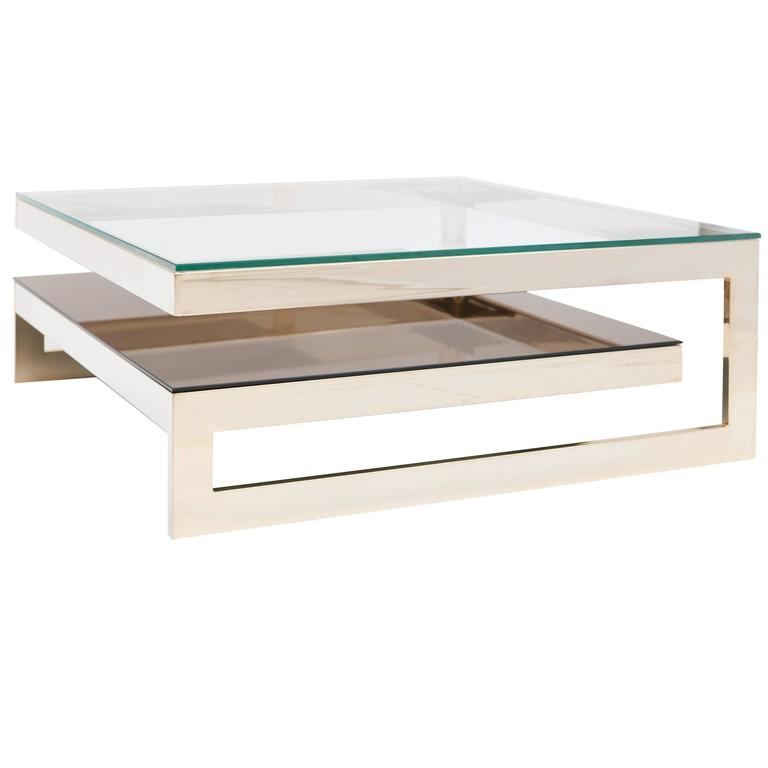 donghia square flame maple and gold leaf coffee table at