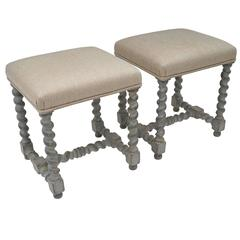 Pair of Antique Painted Gray Stools with Upholstered Seats, Belgium, circa 1900s