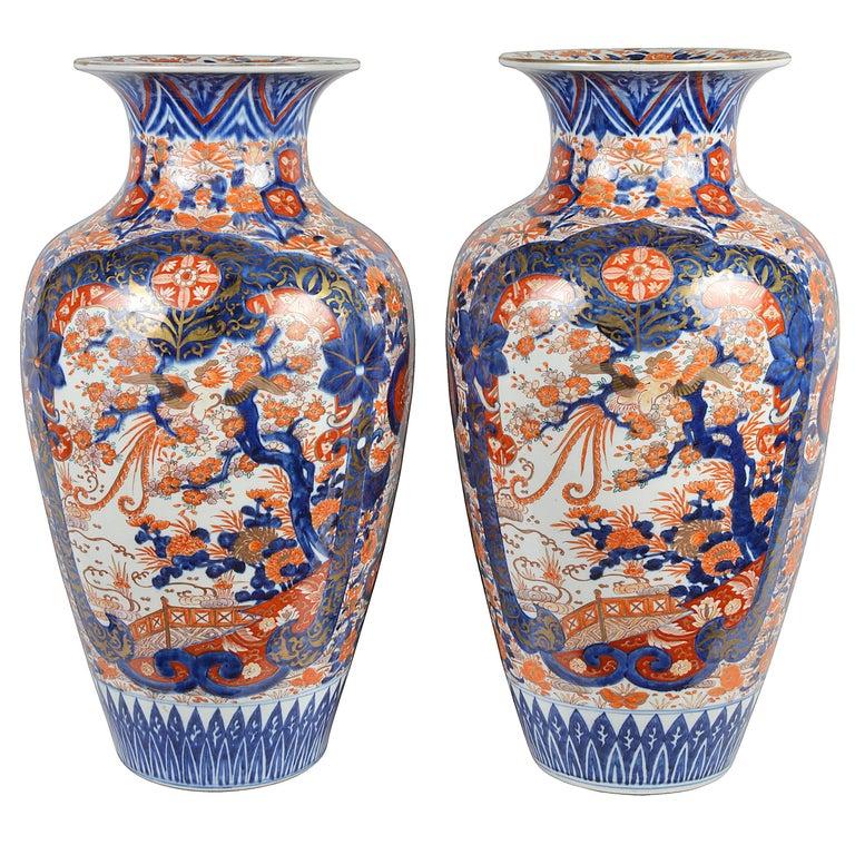 Large Pair of 19th Century Imari Vases For Sale