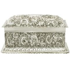 1890s Antique Victorian Sterling Silver Jewelry Casket