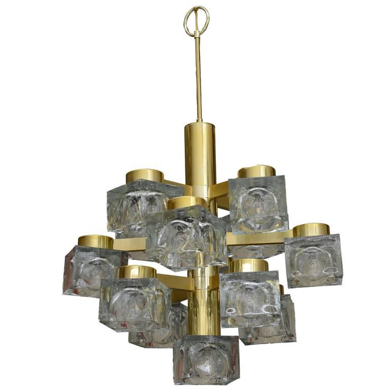 Italian Large Gaetano Sciolari Brass and Cube Glass Chandelier