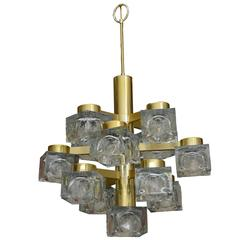 Italian Large Gaetano Sciolari Brass and Cube Glass Chandelier