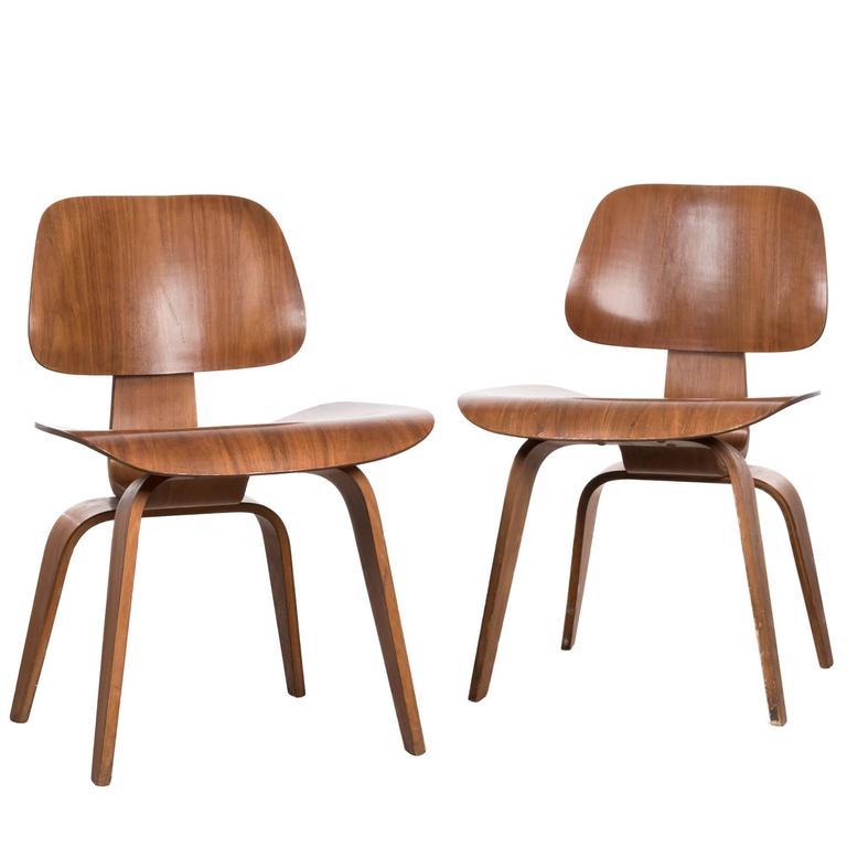 Eames DCW Walnut Dining Chair for Herman Miller