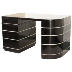 Paul Frankl Art Deco Curved Desk Black Lacquer Silver Grooves with Drawers