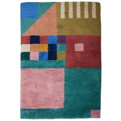 Aelfie Kiki Shag Modern Geometric Hand-Knotted Colorful Rug Carpet