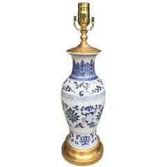 Chinese Blue and White Porcelain Lamp, circa 1860