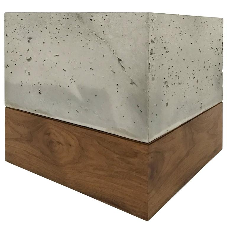"Modern Cast-Concrete and Solid Walnut ""Planter Box"" 1"