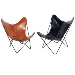 Sculptural Leather Butterfly Chairs Designed by Jorge Ferrari-Hardoy
