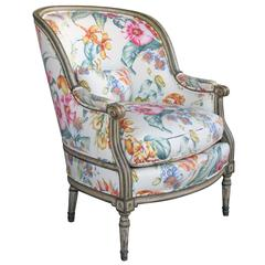 Handsome and Large-Scaled Louis XVI Style Painted Bergere