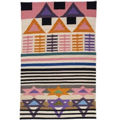 AELFIE Heatwave Modern Dhurrie Handwoven Geometric Colorful Pink Rug Carpet