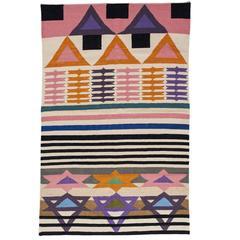 AELFIE Heatwave Modern Dhurrie Handwoven Geometric Colorful Pink Rug Carpet