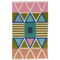 Aelfie Lounah Modern Dhurrie Handwoven Geometric Colorful Pink Blue Rug