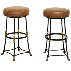 Pair of Italian Mid-Century Iron and Brass Stools with Brown Leather Tops