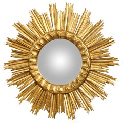 French Vintage Giltwood Double Layer Sunburst Convex Mirror with Carved Molding