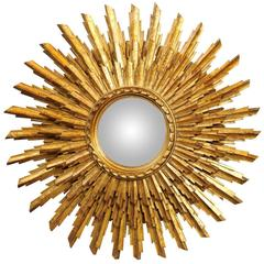 French Giltwood Sunburst Mirror with Three-Layered Sunrays, Mid-20th Century